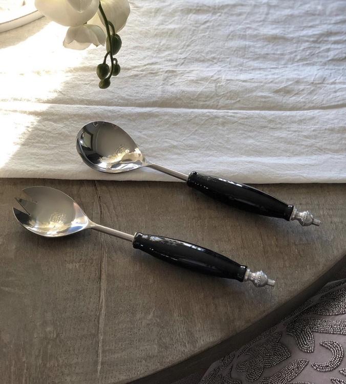 Salladsbestick i svart porslin