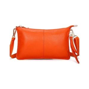 Clutch  Läder Orange, Plommon, Grön eller Blå