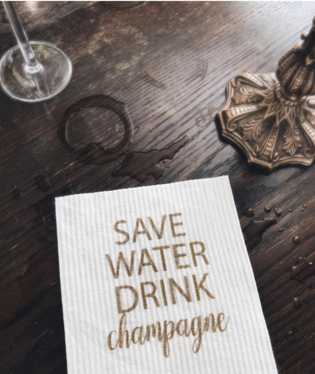 Disktrasa Save water drink champagne
