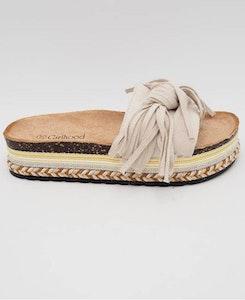 Sandaler med frans-rosett Beige