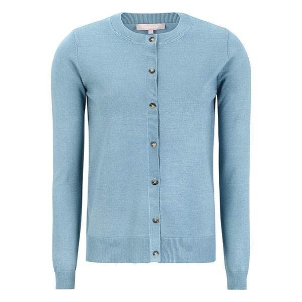 New O-Neck Cardigan Smoke Blue