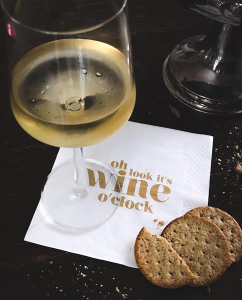 Servetter Wine o clock Vit/Guld