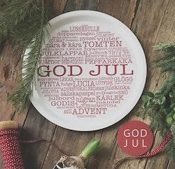 Bricka rund God Jul-ord Vit/röd text