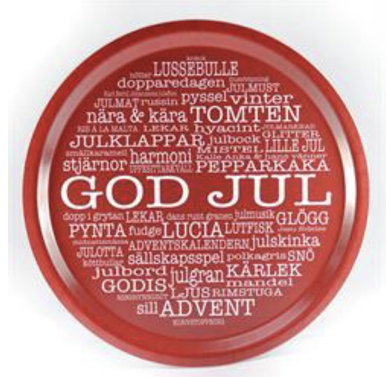 Bricka rund God Jul Röd/vit text