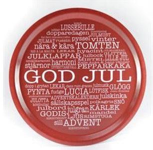 Bricka rund God Jul Röd/vit text