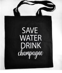 Tygkasse Save water drink champagne Svart