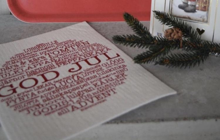 Disktrasa God Jul-ord vit/röd