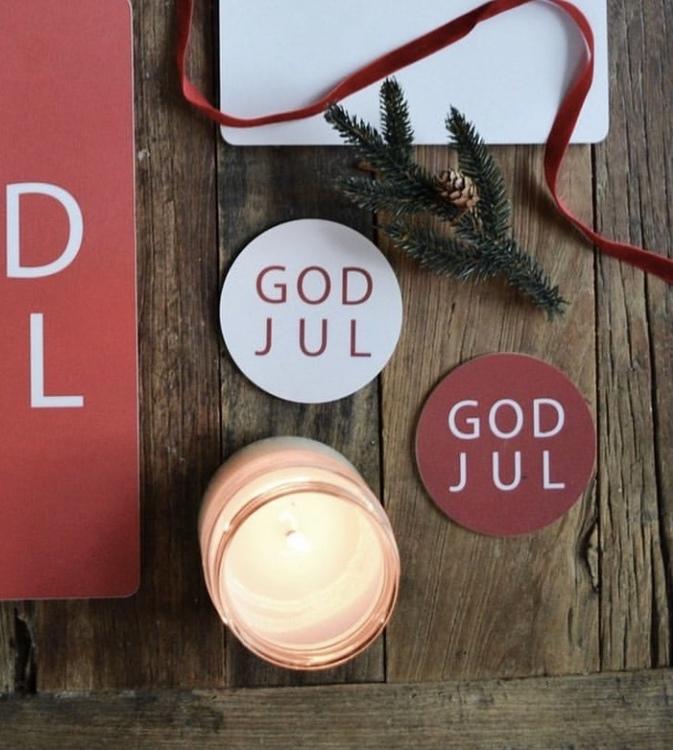 Glasunderlägg God Jul 4-pack Röd och vit