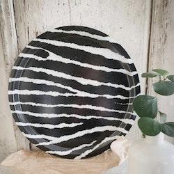 Bricka Rund Zebra Svart/Vit
