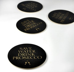 Glasunderlägg 4 - Pack Prosecco Svart