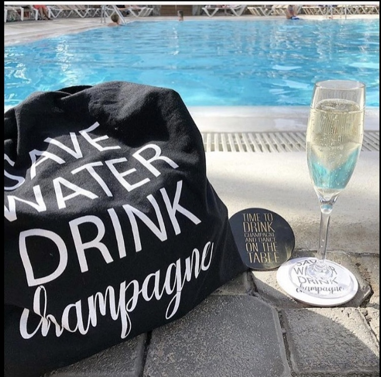 Tygkasse Save water drink champagne Svart