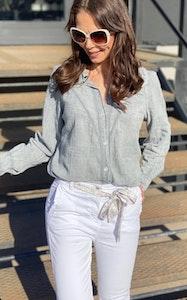 Jeans med volang Vit