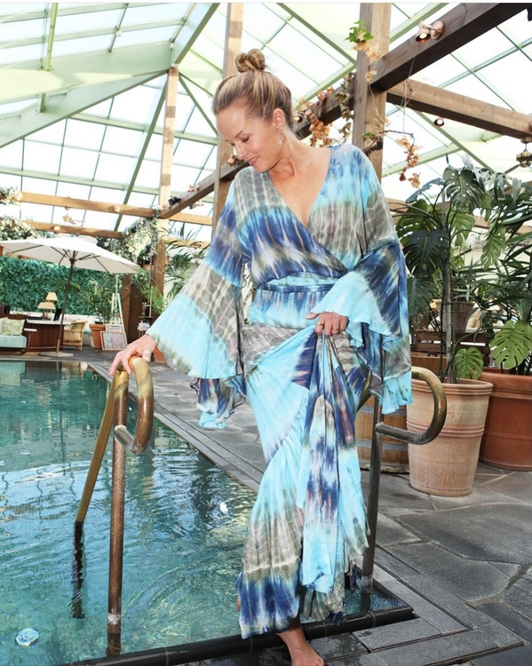 Maxi Dress Tie Dye Blue Green