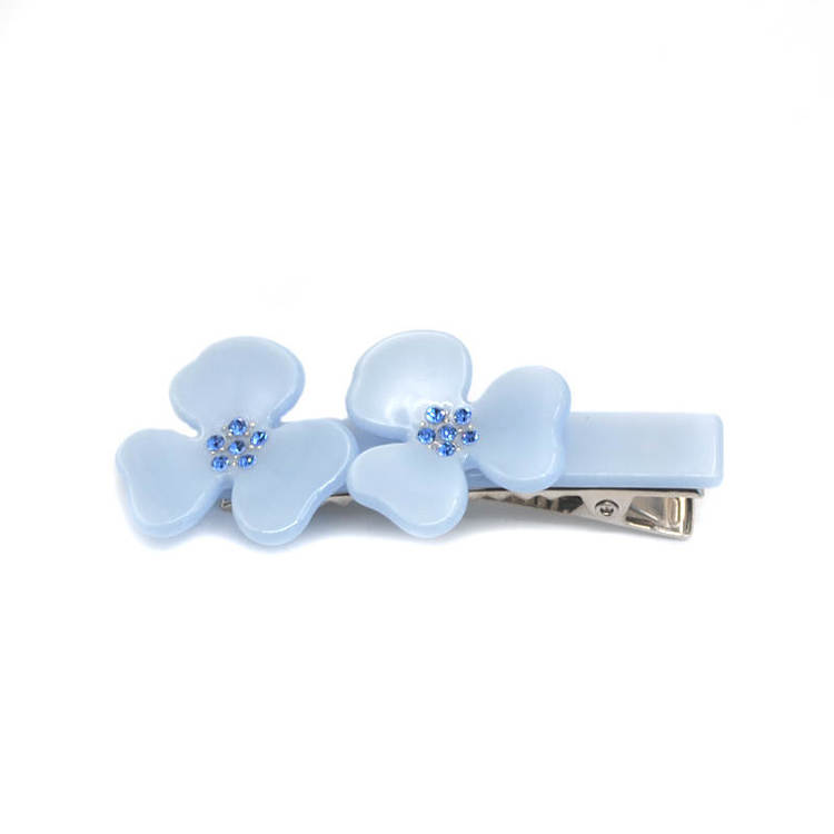Hair clip Flower Baby blue