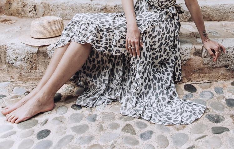 Long Wrap Kjol Leopard Cream