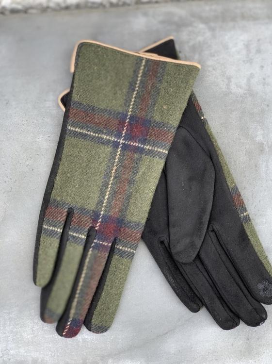 Handskar Rutig Grön