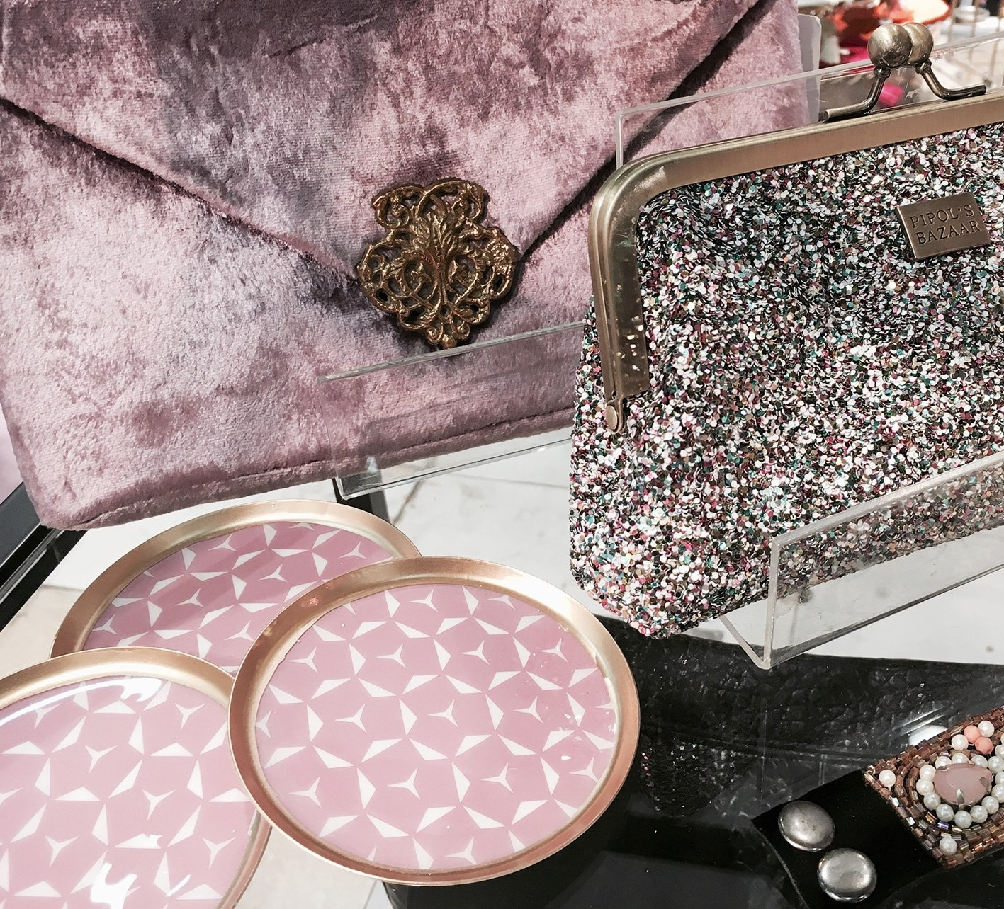 Glasunderlägg  Ethno  Pink  6-Pack