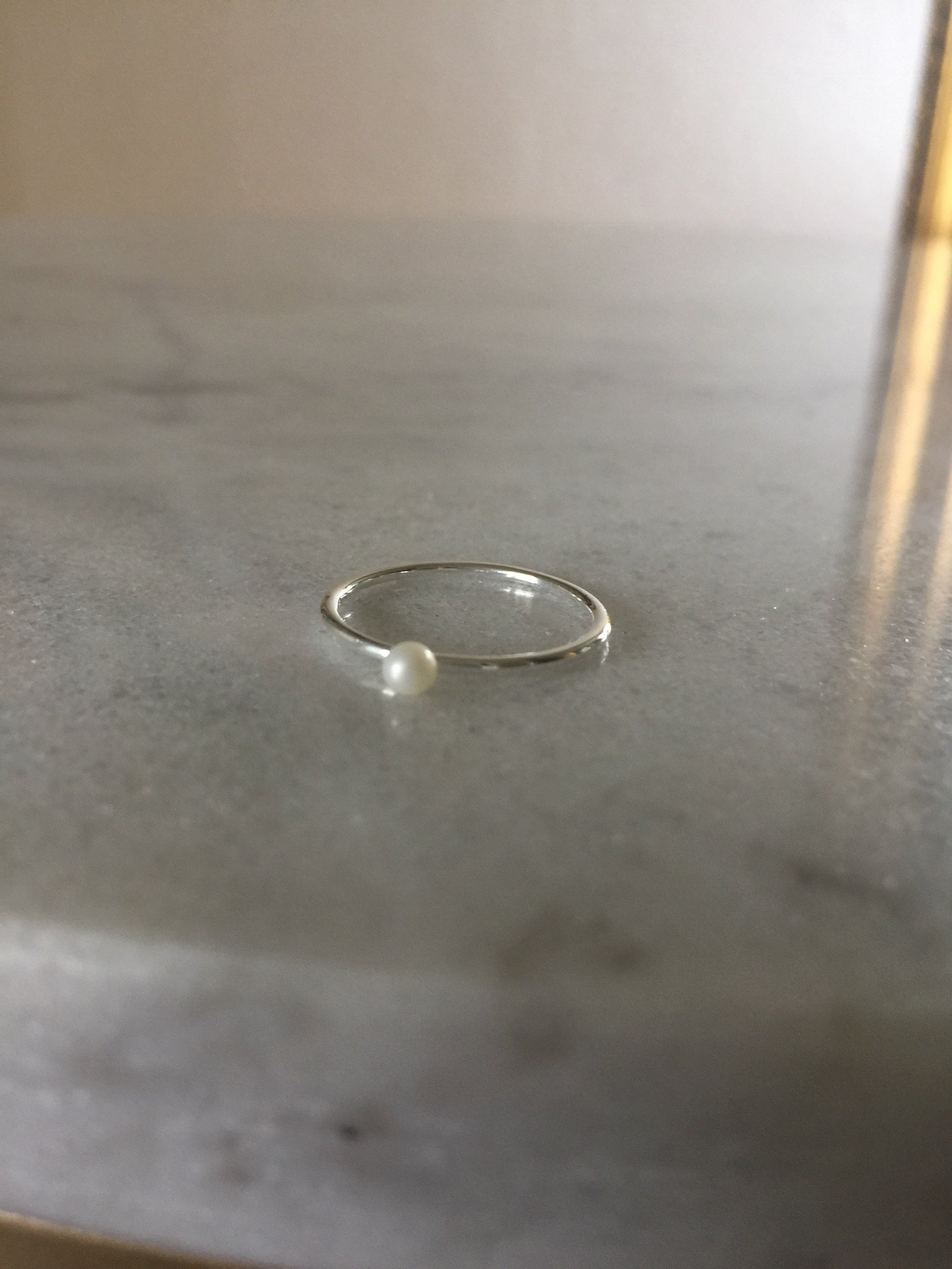 Tiny  Ring  Pearl  Silver