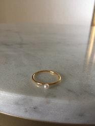 Tiny  Ring  Pearl  Guld