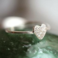 Tiny  Ring  Heart  Silver