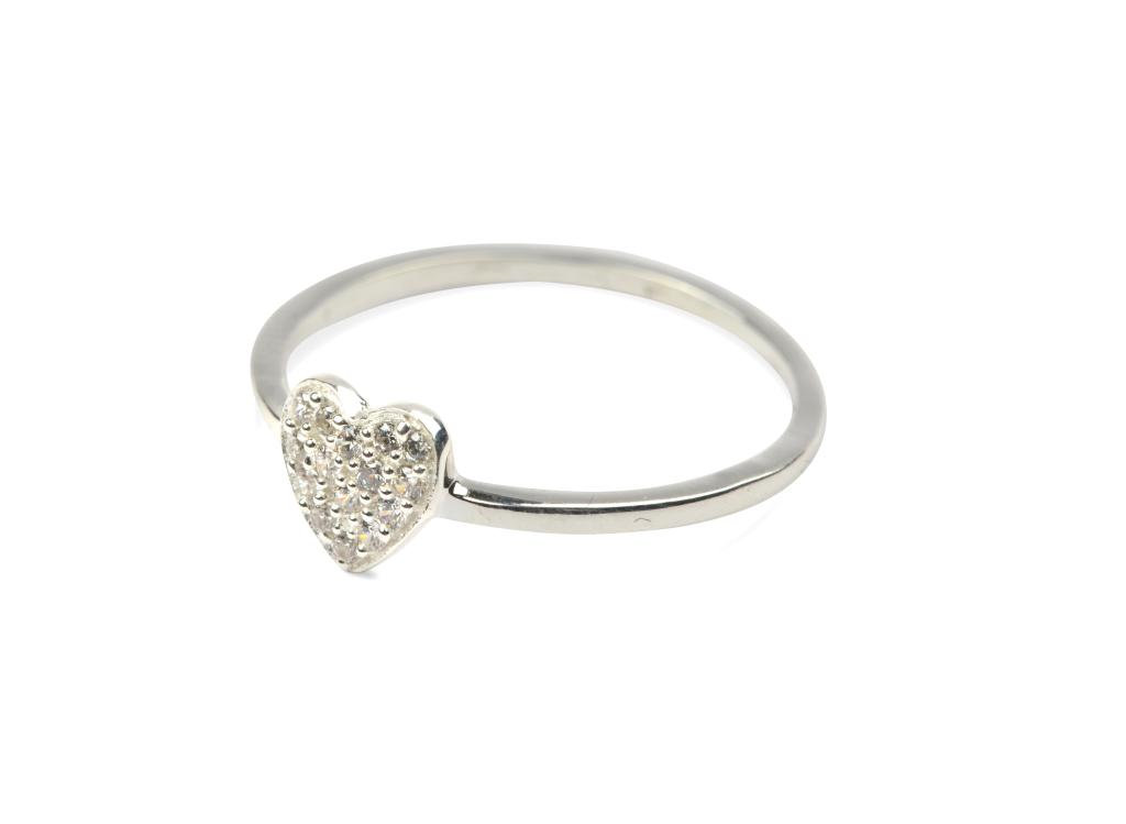 Tiny  Ring  Heart  Silver