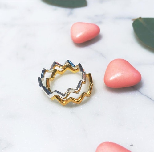 Strict Plain Zigzag  Ring. Guld
