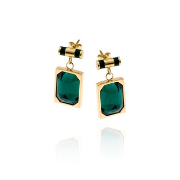 Esmeralda Örhängen Guld/Grön