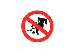 Förbudsskylt! Rasta ej hunden här