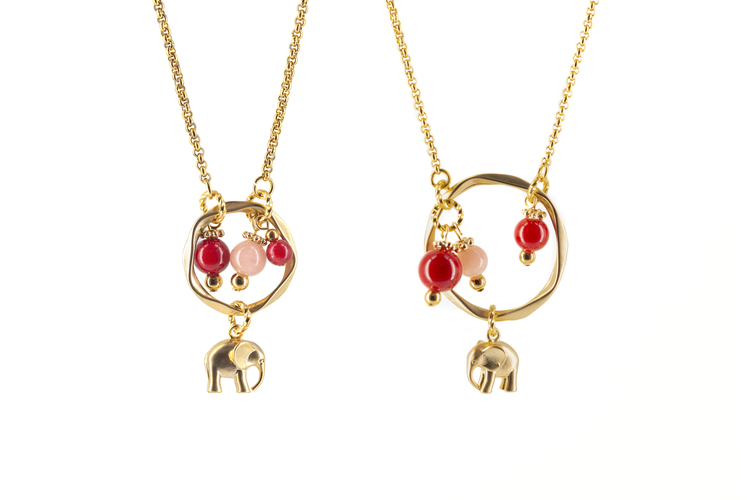 Elephants pink and red necklace