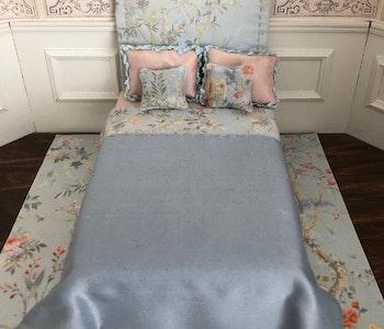 Säng Ljusblå Blomster