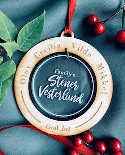 Julprydnad Familj - Trä & Plexiglas