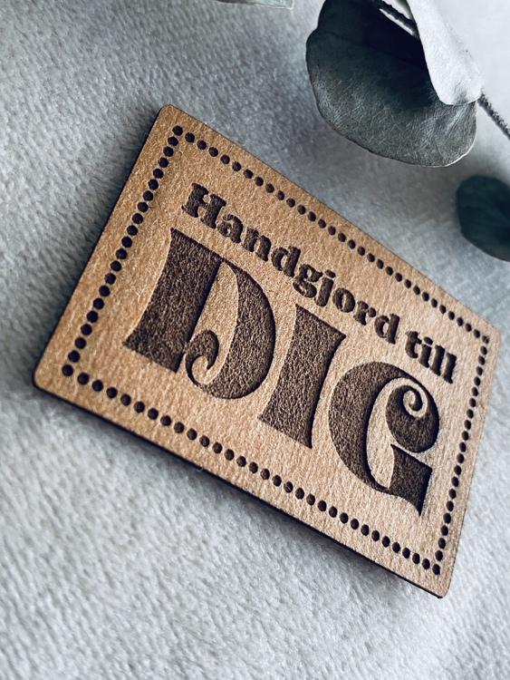 Handgjord till dig - Etikett i veganskt läder