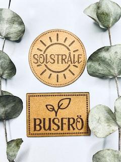 Solstråle & Busfrö - Etiketter i veganskt läder