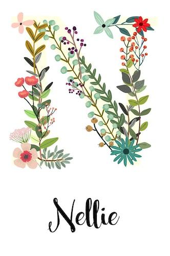 Blommande bokstav med personligt namn