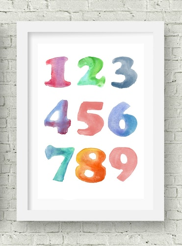 Siffror vattenfärg