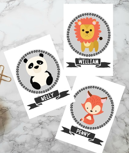 Namnplansch - Panda, Räv, Lejon
