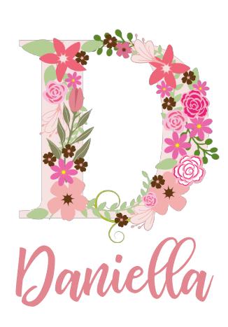 Namnposter - Blommande Bokstav Rosa