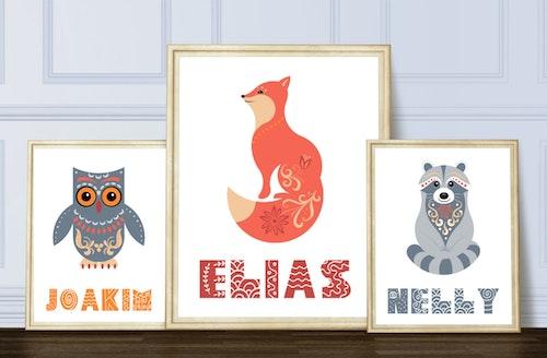 Namnplansch - uggla, räv, tvättbjörn