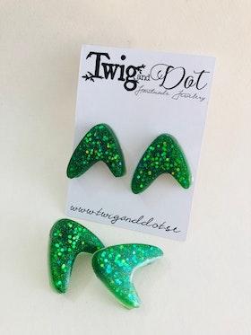 50's Boomerang, Envy green - örhängen
