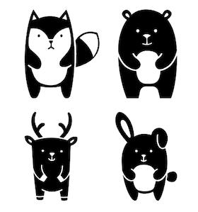 Woodland animals - väggdekal/vinyldekor