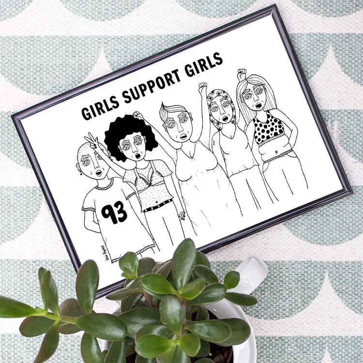 SISTA EXEMPLARET! Girls support girls, poster/print A4
