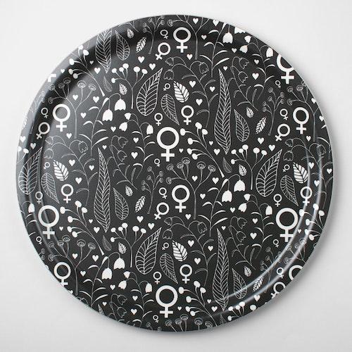 Feministbricka / blomsteräng / grå / 31 cm