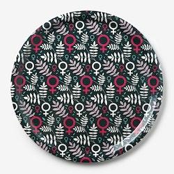 Feministbricka / flerfärgad / rosa / 31 cm