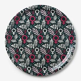 SISTA EXEMPLARET! Feministbricka / flerfärgad / rosa / 31 cm
