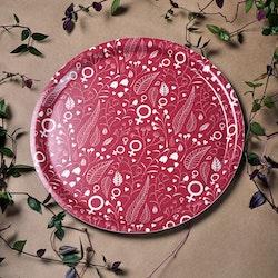Feministbricka / blomsteräng / hallonröd / 31 cm