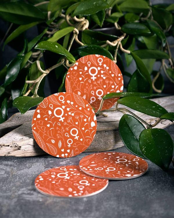 Glasunderlägg / coasters / orange / 4 st