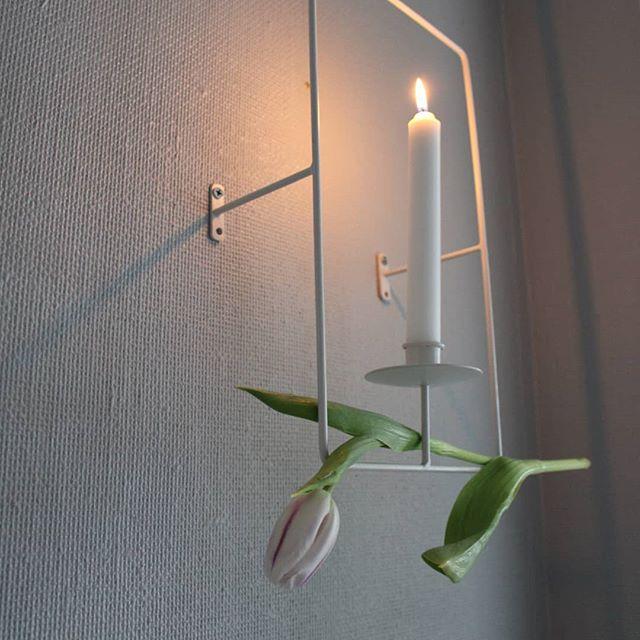 Ljusstake vägg vit