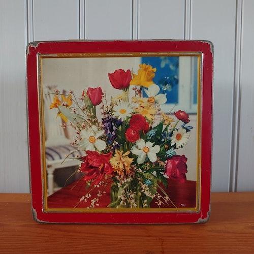 Plåtburk röd blommor Gevalia
