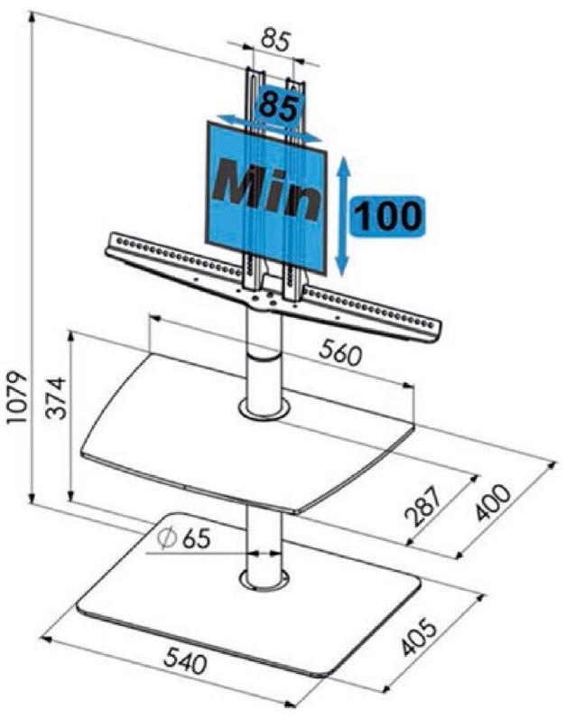 Motoriserat vridbart golvstativ för TV