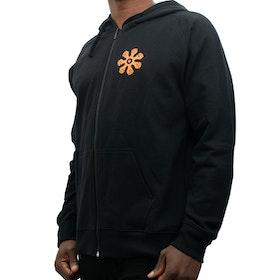 Hoodie med zip - rak modell - svart